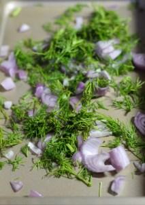 baking pan, dill, onion