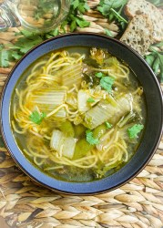 egg noodles, soup bowl, parsley