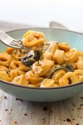 creamy, tortellini, bowl, fork