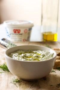 tzatziki dip, bowl, olive oil, yogurt