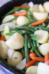 green beans, carrots, potatoes, leek