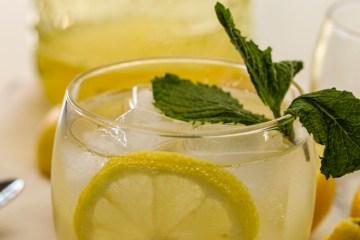 sparkling water, homemade fresh lemons, a slice of lemon, mint a jug of lemonade syrup