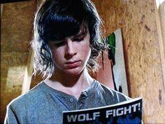 walking dead carl wolf fight