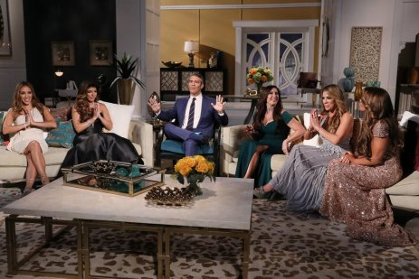 """THE REAL HOUSEWIVES OF NEW JERSEY -- """"Reunion"""" -- Pictured: (l-r) Melissa Gorga, Teresa Giudice, Andy Cohen, Jacqueline Laurita, Siggy Flicker, Dolores Catania -- (Photo by: Heidi Gutman/Bravo)"""