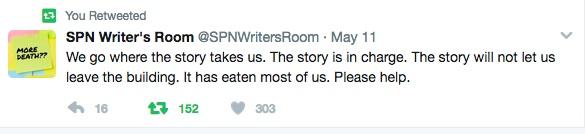 SPN_The Story has eaten us tweet
