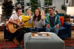HAPPY TOGETHER stars Damon Wayans Jr. (right) and Amber Stevens West (center) in a comedy about a 30-something happily married couple who begin to reconnect with their younger, cooler selves when Cooper (Felix Mallard, left), an exuberant young pop star drawn to their super ordinary suburban life, unexpectedly moves in with them. HAPPY TOGETHER premieres Monday, October 1st (8:30-9:00 PM, ET/PT) on the CBS Television Network. Photo: Cliff Lipson/CBS ©2018 CBS Broadcasting, Inc. All Rights Reserved