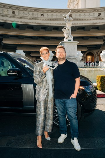 Carpool Karaoke with Celine Dion on The Late Late Show with James Corden. Photo: Terence Patrick/CBS ©2019 CBS Broadcasting, Inc. All Rights Reserved