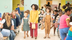 """BLACK-ISH - """"Becoming Bow"""" - After Dre and the kids question Bow's unusual upbringing, we flashback to a young, 12-year old Rainbow living in a commune with her family. When the commune is unexpectedly raided, they are upended and must move to the suburbs. The mixed-race family has difficulty acclimating to this new, mainstream life and the kids struggle with their biracial identity as they try to fit in at their new school, on a special, all-new episode of """"black-ish,"""" TUESDAY, MAY 7 (9:00-9:30 p.m. EDT), on The ABC Television Network. (ABC/Kelsey McNeal) MYKAL-MICHELLE HARRIS, ARICA HIMMEL, ETHAN WILLIAM CHILDRESS"""