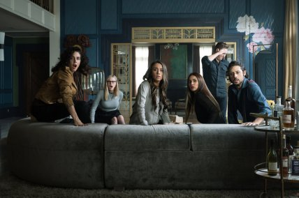 "THE MAGICIANS -- ""Oops!... I did It Again"" Episode 506 -- Pictured: (l-r) Jade Tailor as Kady Orloff-Diaz, Olivia Taylor Dudley as Alice Quinn, Stella Maeve as Julia Wicker, Summer Bishil as Margo Hanson, Trevor Einhorn as Josh Hoberman, Hale Appleman as Eliot Waugh -- (Photo by: Eric Milner/SYFY)"