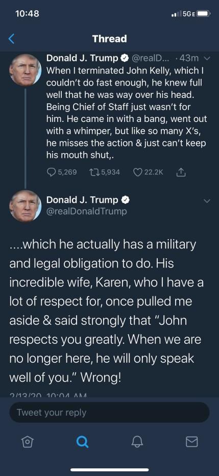 trump tweet john kelly