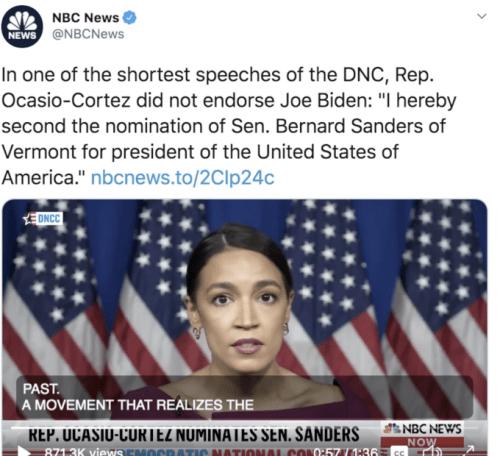 AOC NBC DNC tweet