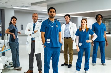 TRANSPLANT -- Season: 1 -- Pictured: (l-r) Torri Higginson as Claire Malone, John Hannah as Jed Bishop, Hamza Haq as Bashir Hamed, Jim Watson as Theo Hunter, Laurence Leboeuf as Magalie Leblanc, Ayiah Issa as June Curtis -- (Photo by: Fabrice Gaetan/Sphere Media/NBC)