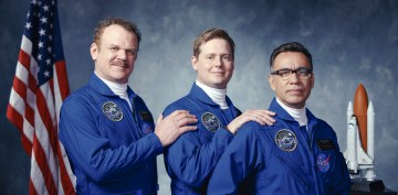 "(L-R): John C. Reilly as Cap, Tim Heidecker as Rook and Fred Armisen as Skip in MOONBASE 8 ""Rats"". Photo Credit: A24 Films/SHOWTIME."