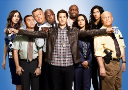 BROOKLYN NINE-NINE: Cast L-R: Chelsea Peretti, Joe Lo Truglio, Joel McKinnon Miller, Andre Braugher, Andy Samberg, Terry Crews, Melissa Fumero, Stephanie Beatriz and Dirk Blocker. BROOKLYN NINE-NINE Season 3 premieres Fall 2015 on FOX. ©2015 Fox Broadcasting Co. CR: Scott Schafer/FOX
