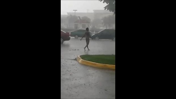 naked in rain