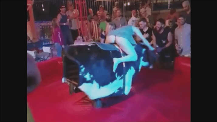 Drunk Girl In A Thong Riding A Mechanical Bull