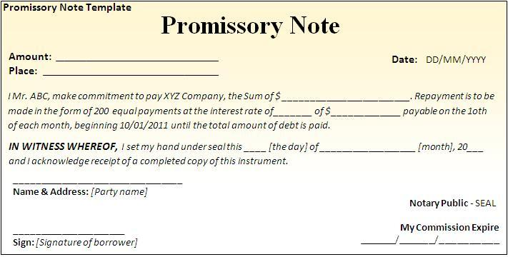 Mortgage Promissory Note Template promissory notes templates – Sample of Promissory Letter