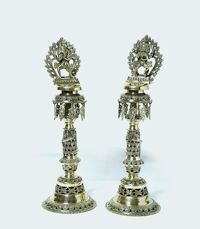 Kartik Ganesh Panas - Exquisitely crafted standing oil lamp