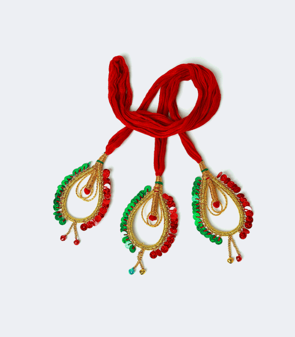 Sachika - Cotton Hairdo with oval shaped ends in red & green
