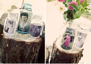 originele fotolijstjes foto's in een oude glazen pot