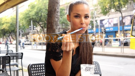 ethnic-woman-cafe-street-fashion-lifestyle-stock-footage