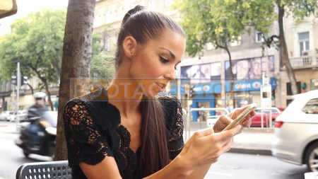 ethnic-woman-texting-cafe-street-fashion-lifestyle-stock-footage