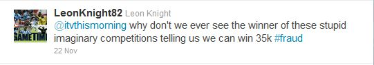 Coleraine striker Leon Knight lays into ITV staple This Morning on Twitter.