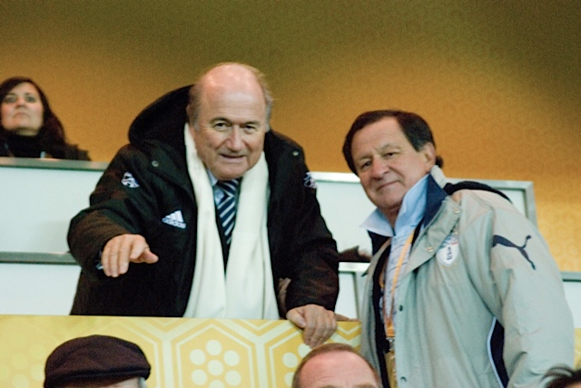 Sepp Blatter having a bloody good laugh at our expense.