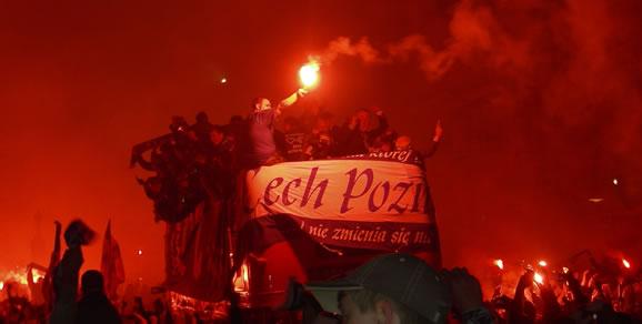 Lech Poznań fans celebrate