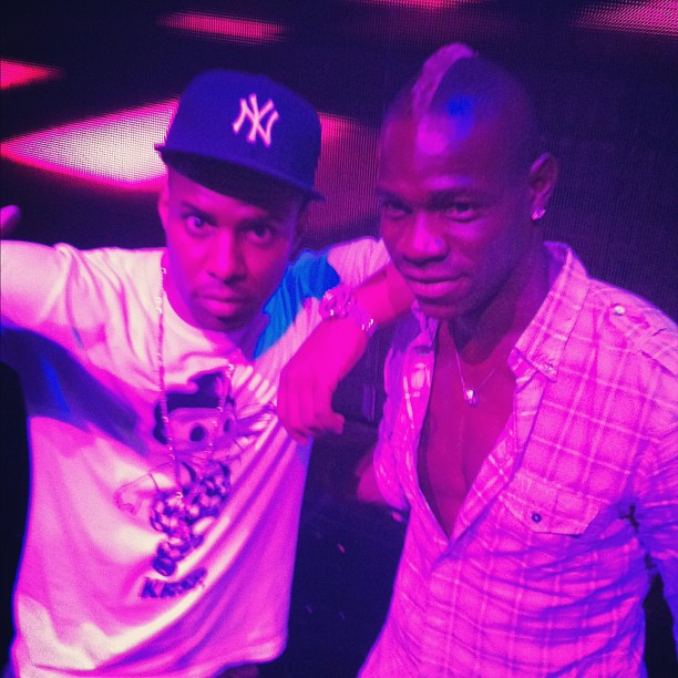Mario Balotelli on stage with DJ Whoo Kid in Ibiza