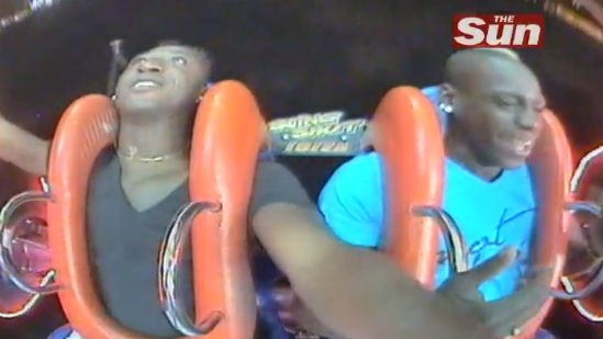 Mario Balotelli enjoying a few wild rides on the Slingshot Bungee Rocket in Ibiza over the summer