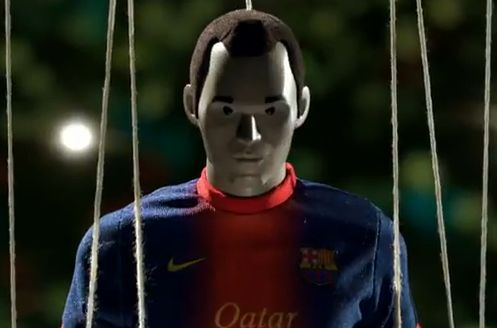 A puppet version of Barcelona's Andres Iniesta in an advert for Nike Football CTR360 Maestri III football boots