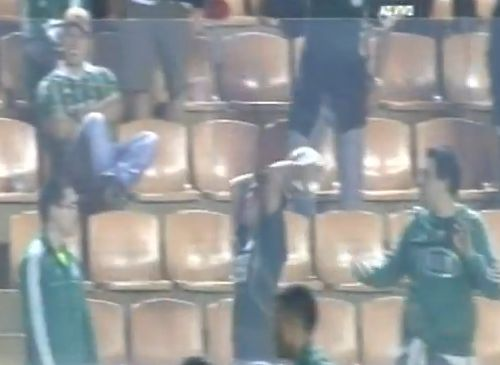A Palmeiras fan throws a ball on to the assistant referee's head to the pleasure of the crowd during a home win against Botafogo