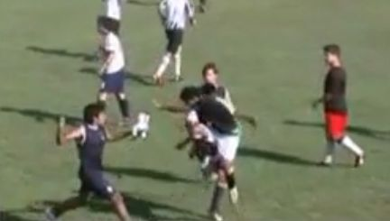 A mass brawl in a Paraguayan junior match between Teniente Farina and Libertad which led to 36 red cards