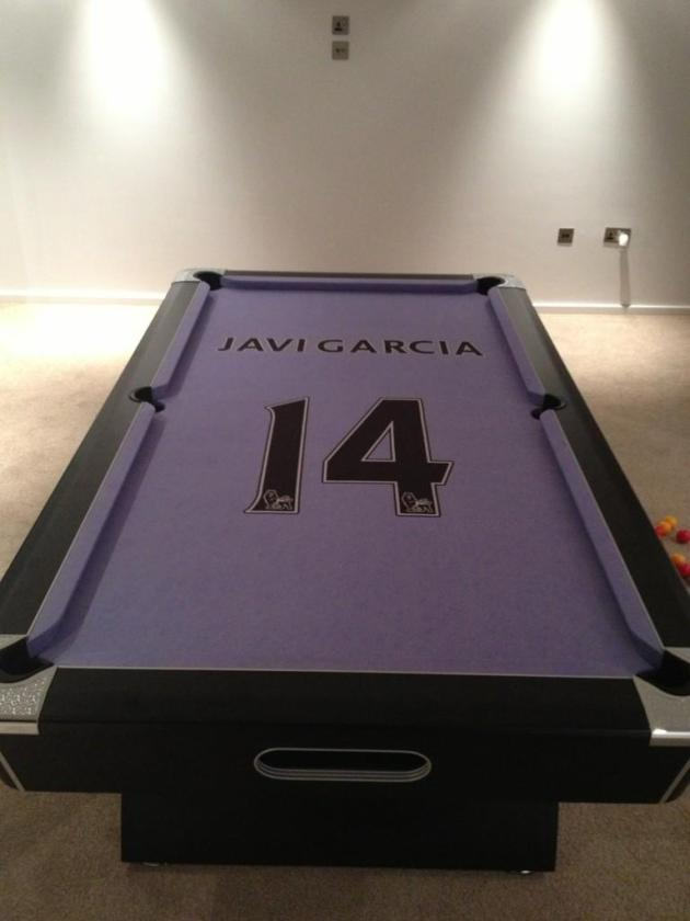 Manchester City midfielder Javi Garcia's new custom pool table