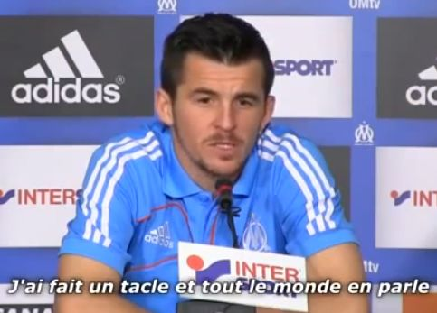 Joey Barton speaks with a French accent at the post-match press conference after Marseille v Lille