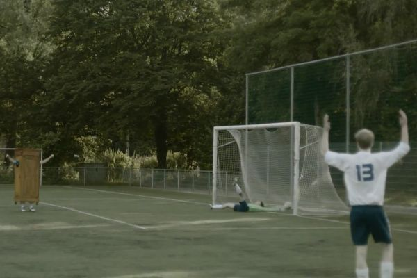 A player wearing a closet scores a goal in a video made by the Dutch FA to promote acceptance of gay footballers