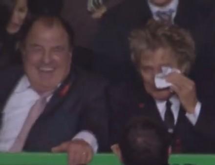 Rod Stewart cries tears of joy as Celtic beat Barcelona