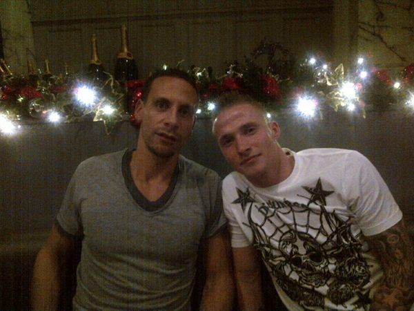 Rio Ferdinand and Alexander Büttner at Rio Ferdinand's Rosso restaurant during Manchester United's Christmas party