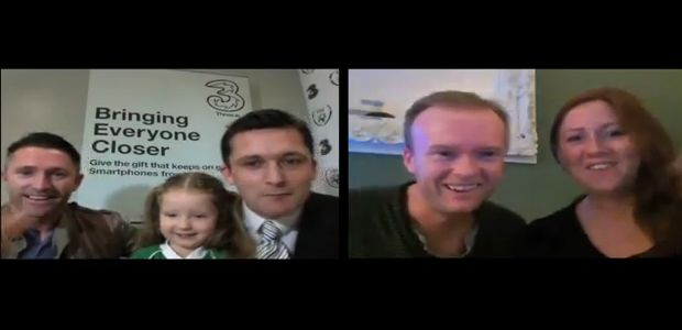 Robbie Keane Skypes an Irish couple living in Australia thanks to Three