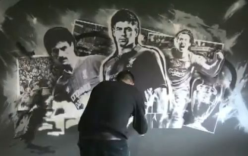 Paintshop Studio paint the wall in Warrior's executive box at Anfield