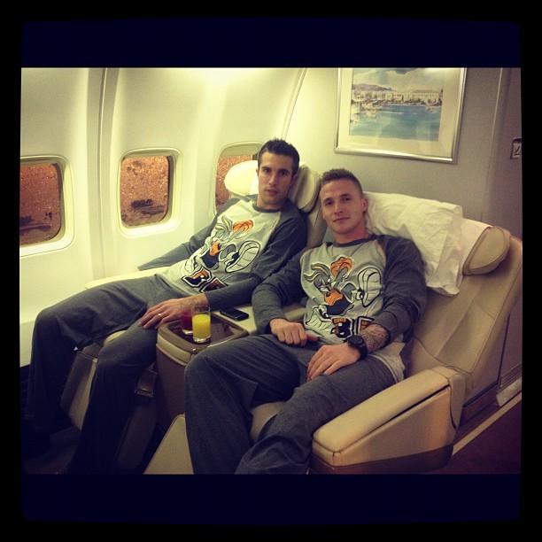 Alexander Büttner and Robin van Persie wear Bugs Bunny pyjamas