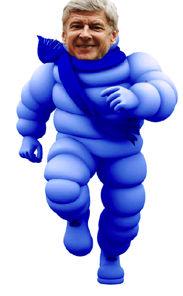 Arsene Wenger's coat in the form of the Michelin Man