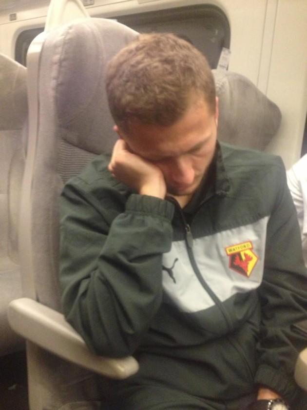 Watford's Almen Abdi captured by Troy Deeney's #sleepcam