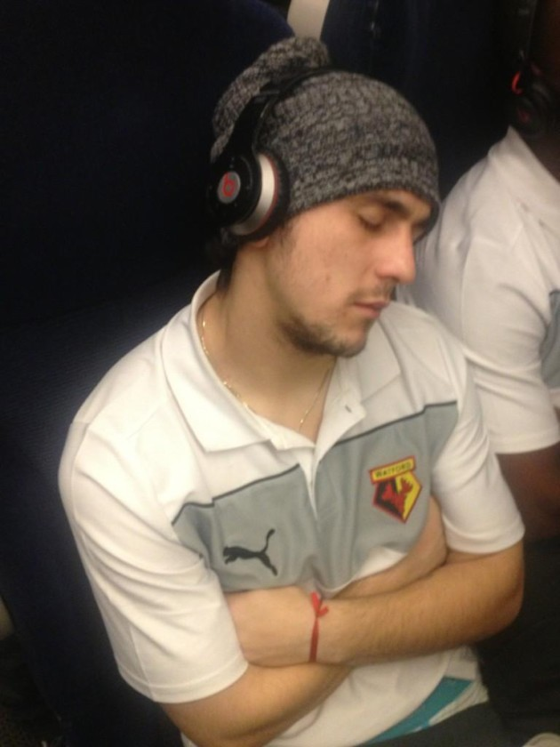 Watford's Fernando Forestieri captured by Troy Deeney's #sleepcam