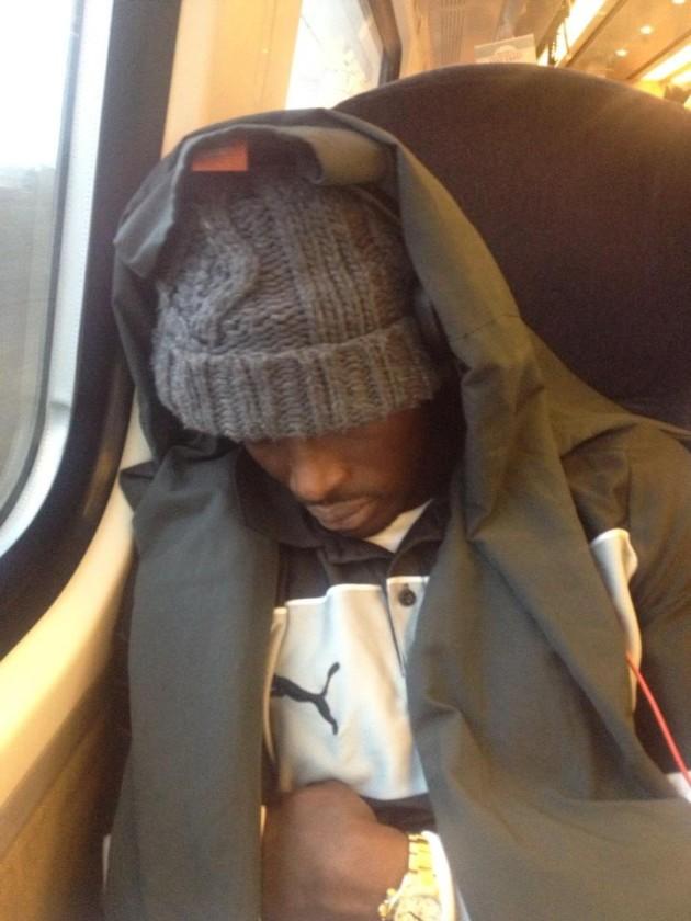 Watford's Nyron Nosworthy captured by Troy Deeney's #sleepcam
