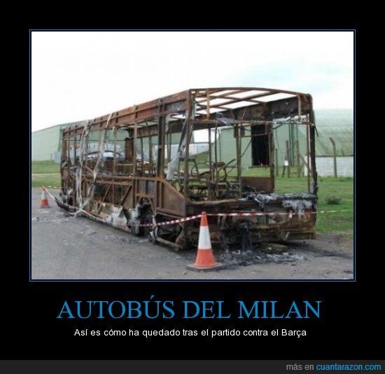 Barcelona v AC Milan bus