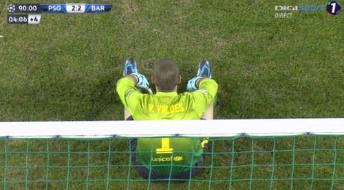 Barcelona goalkeeper Víctor Valdés after conceding a late goal against PSG, the Víctor Valdés jokes are in...