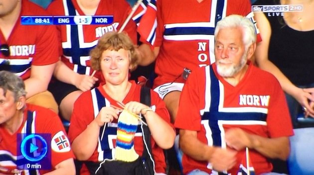 Norway fan knitting during Under-21s match v England