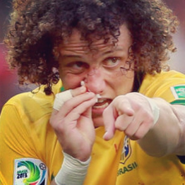 David Luiz with a broken nose, playing for Brazil in the Confederations Cup